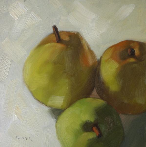 """Pear Huddle  6x6 oil"" original fine art by Claudia Hammer"