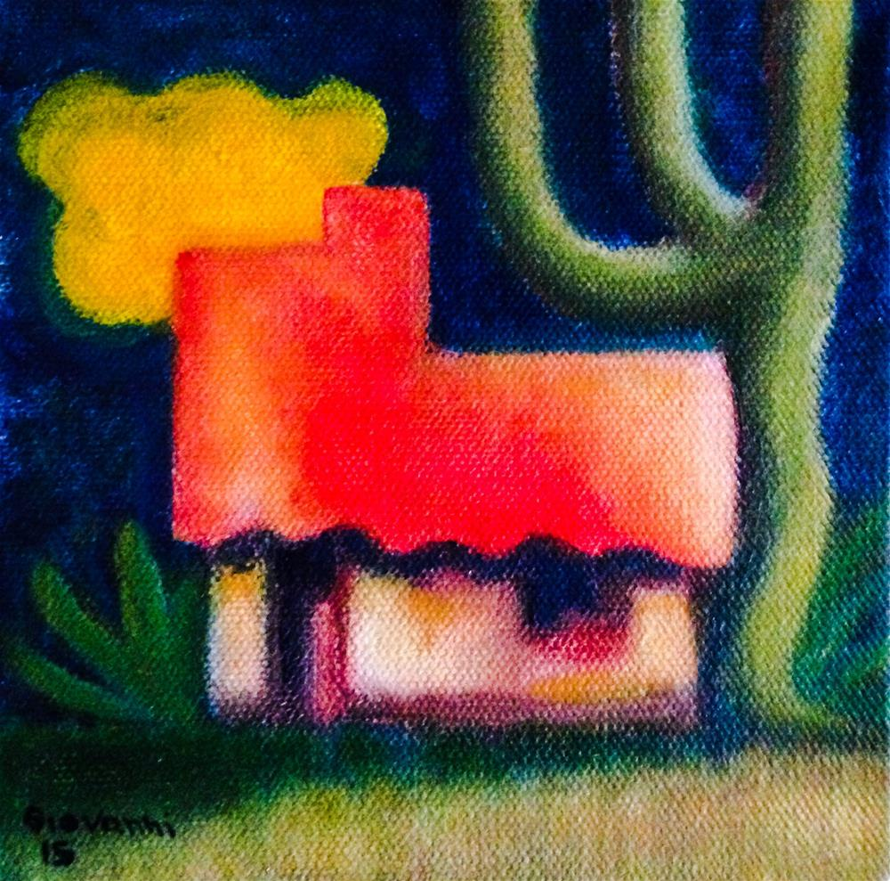 """The house and the yellow cloud"" original fine art by Giovanni Antunez"