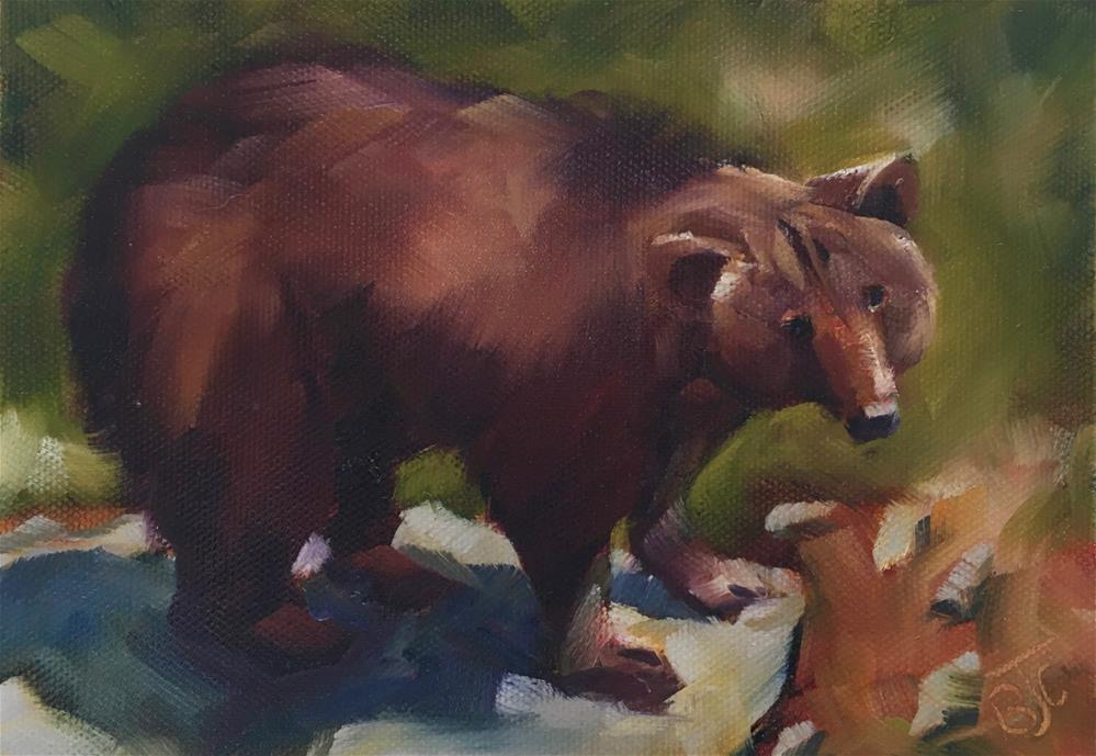 """Brown Bear"" original fine art by Bobbie Cook"