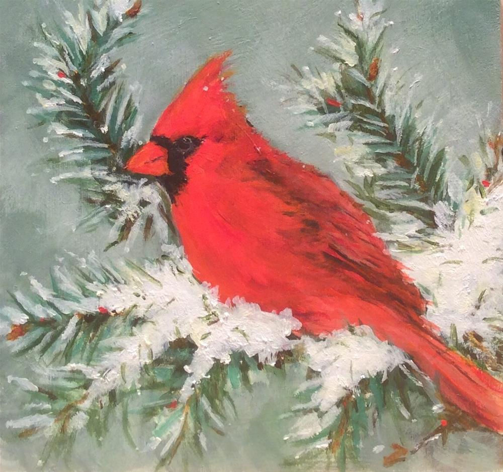 """Red Cardinal"" original fine art by wendy black"