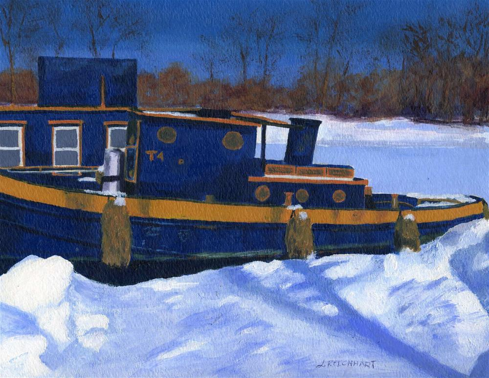 """Sleeping Barge"" original fine art by Lynne Reichhart"