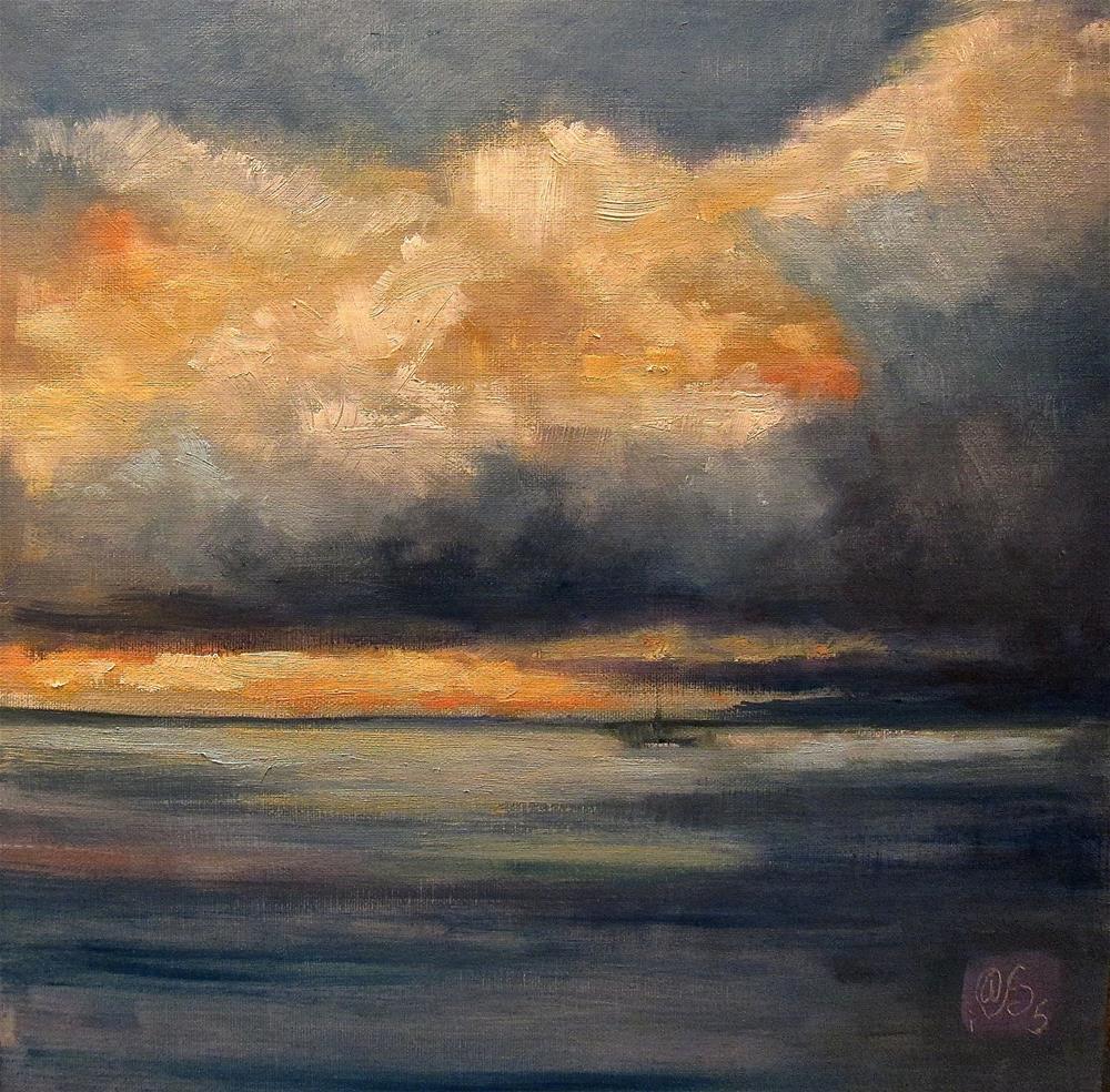 """Night Call on New Haven Harbor"" original fine art by Aurelio Saiz"