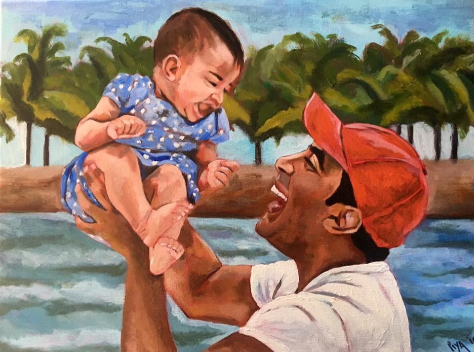 """""""Aveanna and Daddy"""" original fine art by Piya Samant"""