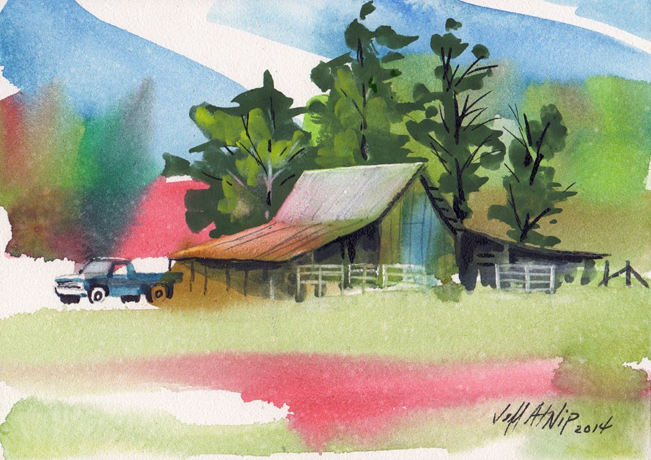"""Barn with Truck and Trees"" original fine art by Jeff Atnip"