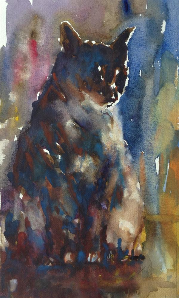 """Cat in a mood"" original fine art by Joseph Mahon"