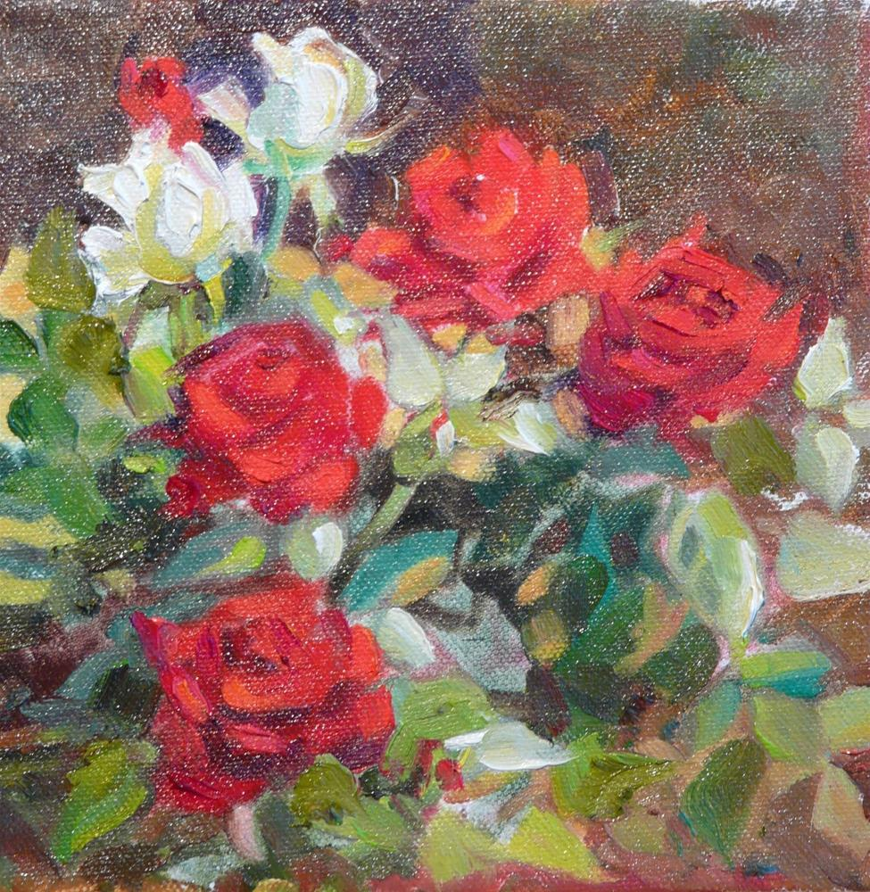 """Mini Roses,still life,oil on canvas,8x8,price$275"" original fine art by Joy Olney"