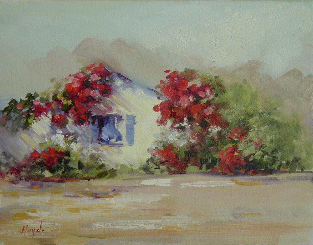 """House with Bougainvillea"" original fine art by Diane Lloyd"