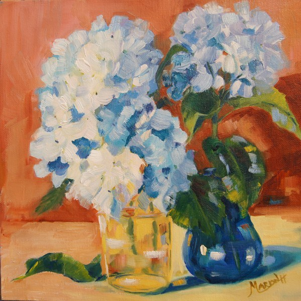 """White Hydrangeas Still Life"" original fine art by Marion Hedger"