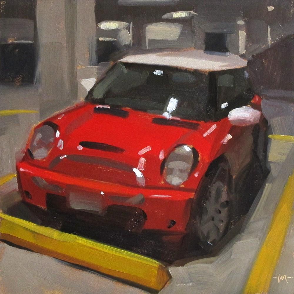 """Red Mini, Parked"" original fine art by Carol Marine"