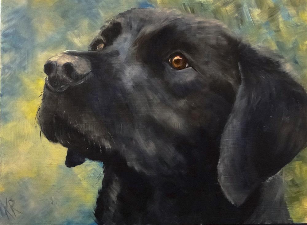 """Portrait of a black dog (3)"" original fine art by Karen Robinson"
