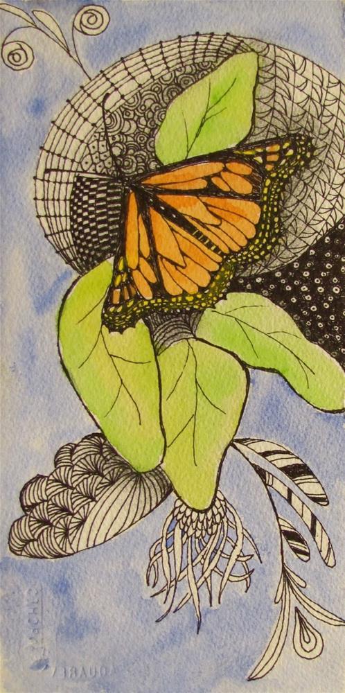 """Butterfly Zentangle"" original fine art by Christine Holzschuh"