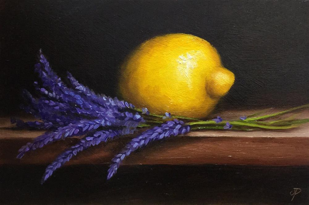 """Lemon with lavender"" original fine art by Jane Palmer"