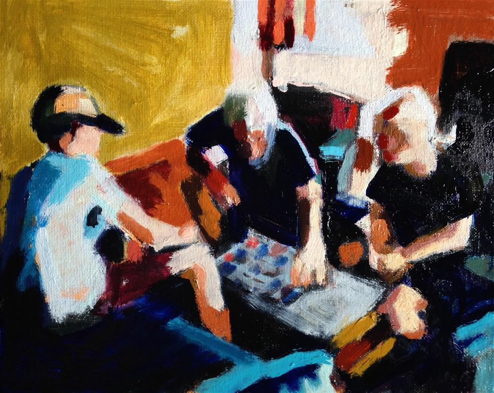 """The Scrabble Game"" original fine art by Pamela Hoffmeister"
