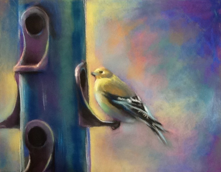 """Bird Breakfast"" original fine art by Judy Albright"