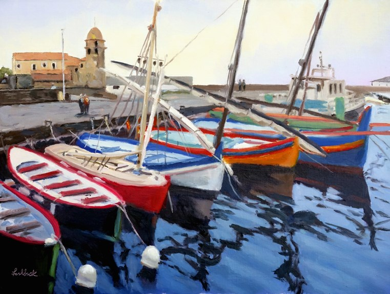 """Boats at Collioure France II"" original fine art by Daniel Fishback"