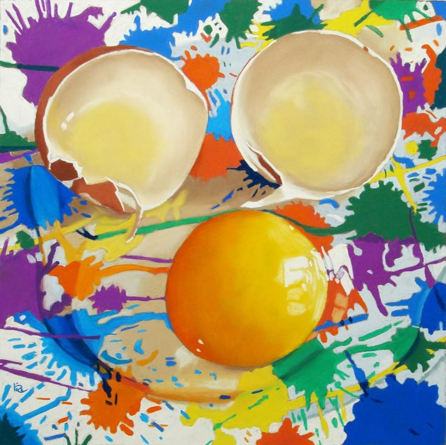 """Splatter Paint and Egg Still Life"" original fine art by Ria Hills"