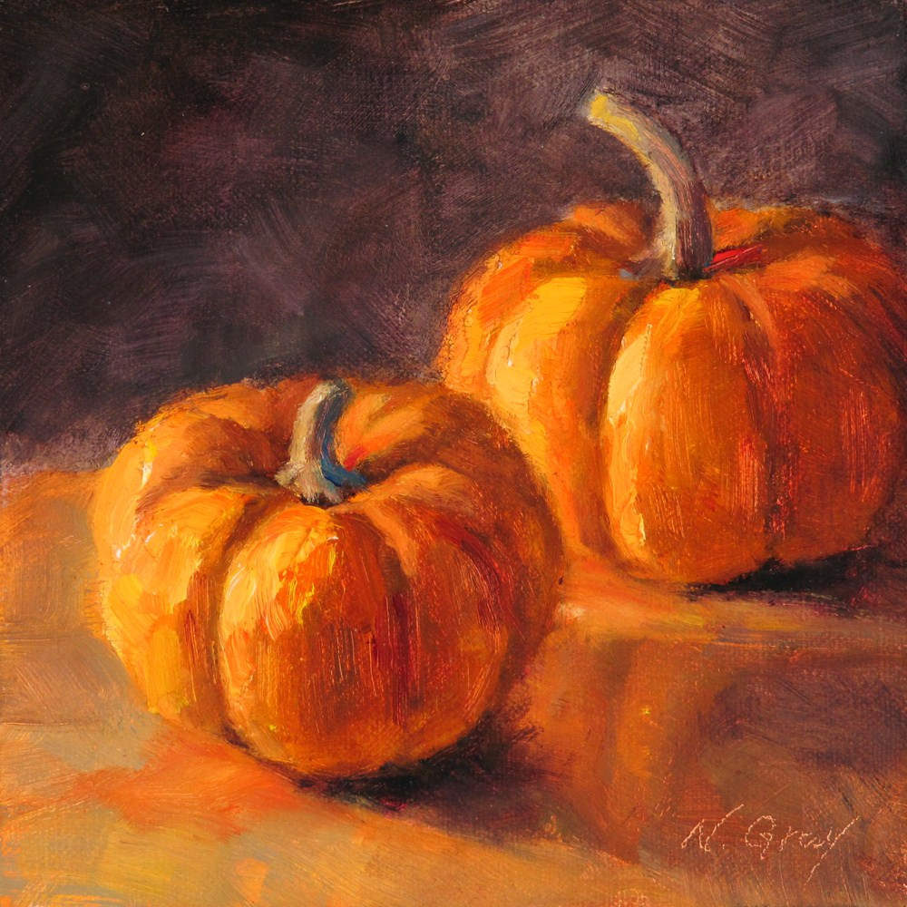 """Two Orange Pumpkins"" original fine art by Naomi Gray"