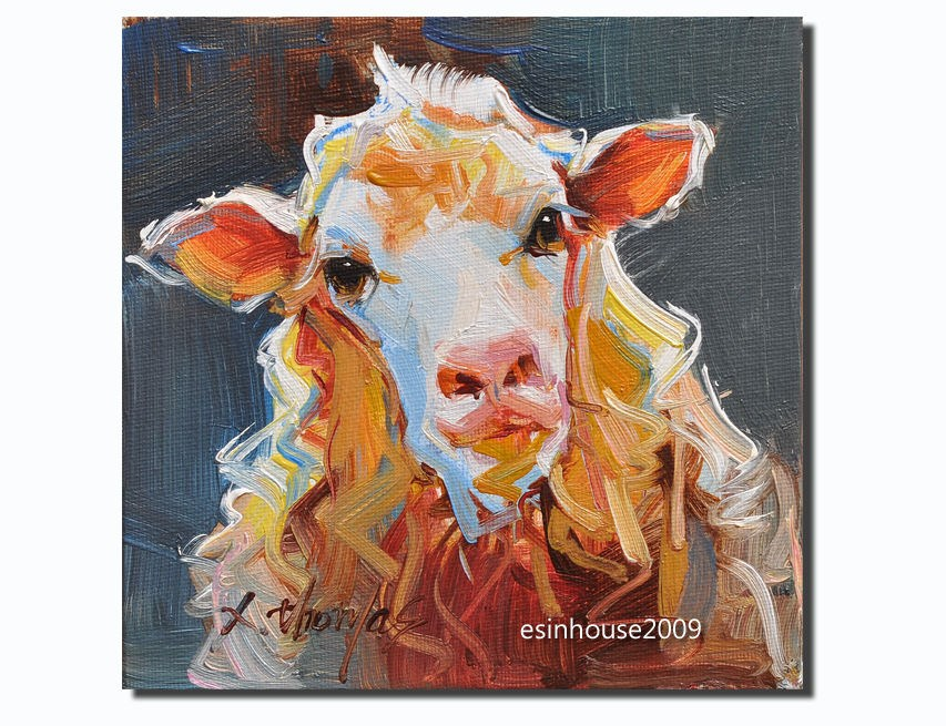 """Western Sheep portrait Original oil Painting on canvas panel Farm animals 6X6"" original fine art by Thomas Xie"