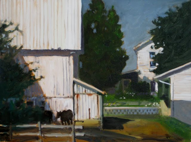 """White Barn  Amish country, oil landscape daily painting"" original fine art by Robin Weiss"