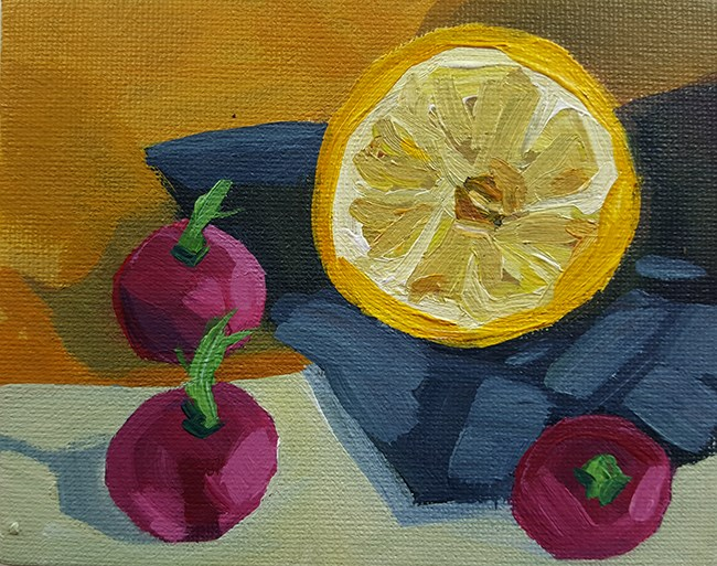 """Lemon and Radishes"" original fine art by J M Needham"