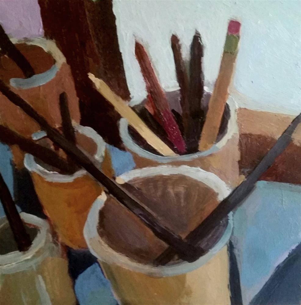 """Brushes and Pencils"" original fine art by Liz Maynes"