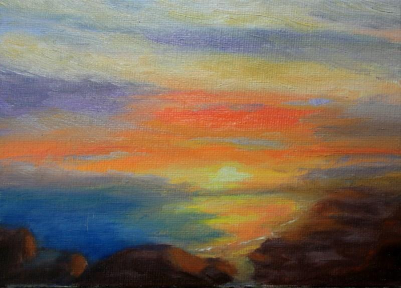 """""""Sunset Beach"""" original fine art by Jean Nelson"""