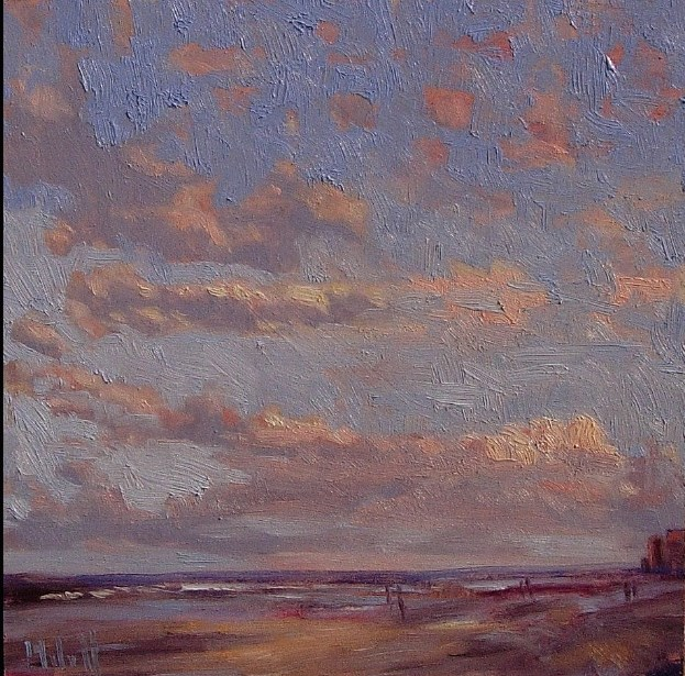 """Walk on the Beach Oceanside Clouds Original Oil Painting Impressionism"" original fine art by Heidi Malott"