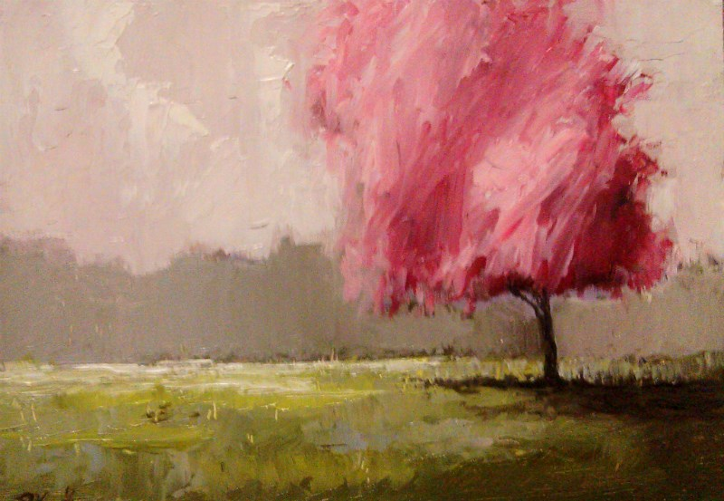 """Cherry Blossom in the Park"" original fine art by Bob Kimball"