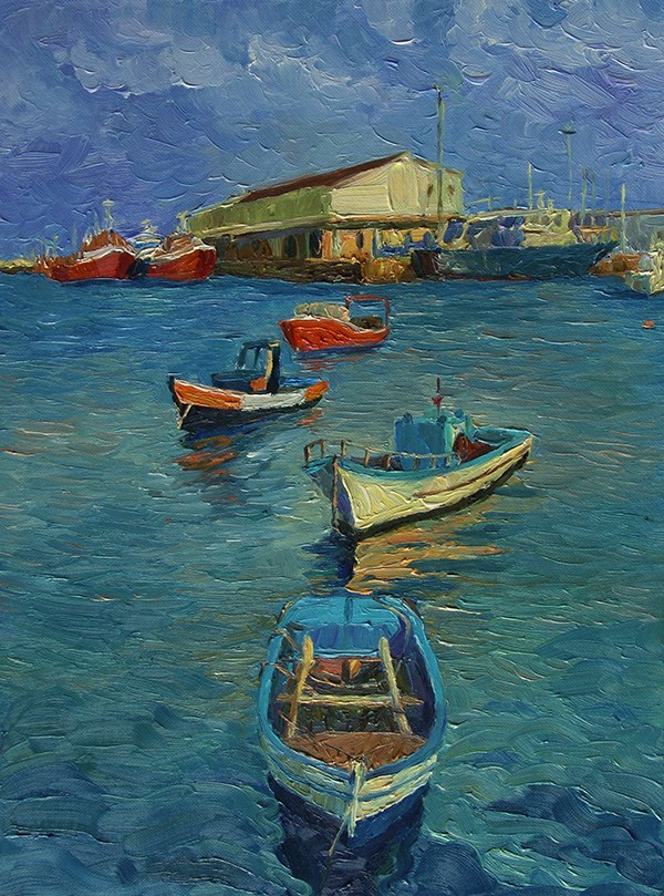 """""""A Small Harbour in Portugal"""" original fine art by Ling Strube"""