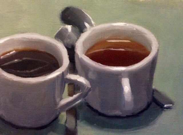 """Tea or Coffee?"" original fine art by Thomas Ruckstuhl"