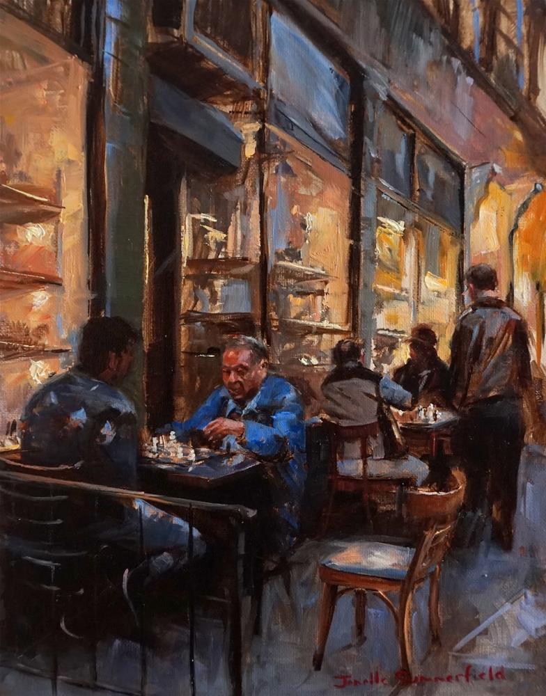 """Greenwich Village Chess Match"" original fine art by Jonelle Summerfield"