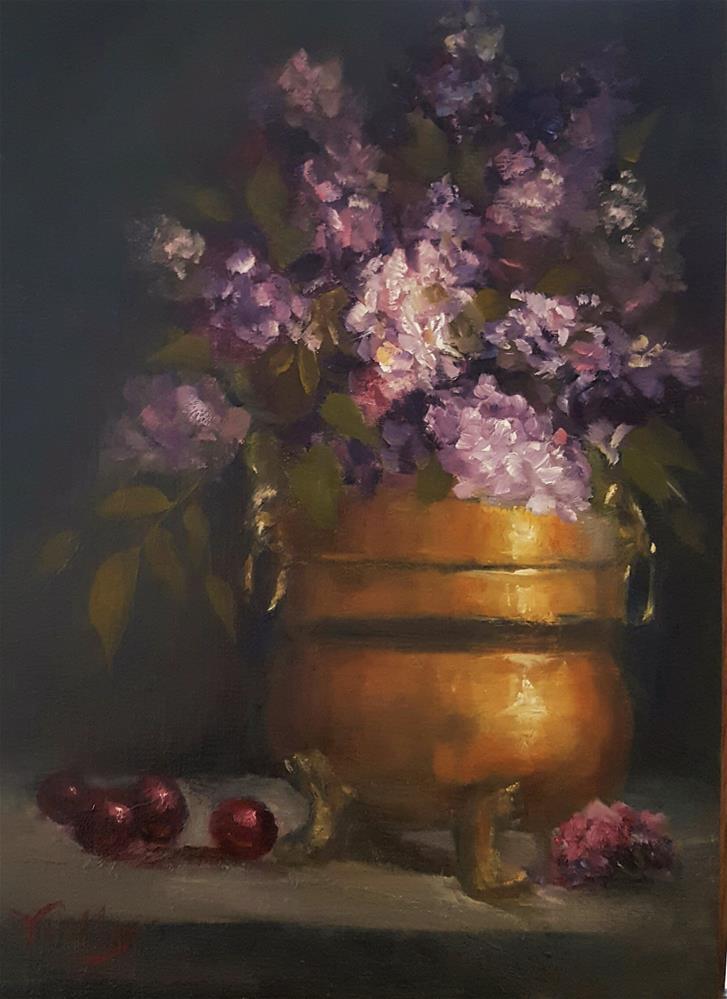"""Lilacs and Gold"" original fine art by Jessica Veilleux"