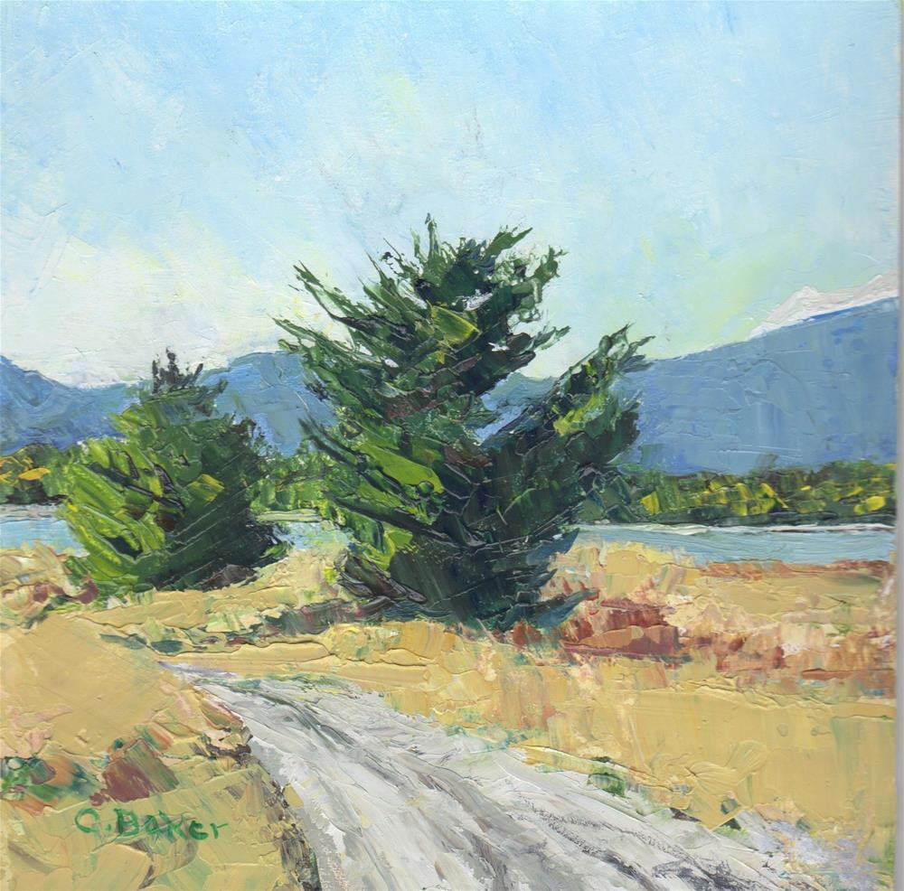 """Two Trees Towards the River"" original fine art by Carole Baker"