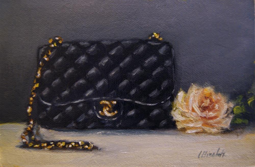 """Coco Bag No.2,  Oil on 4x6 Linen Panel"" original fine art by Carolina Elizabeth"
