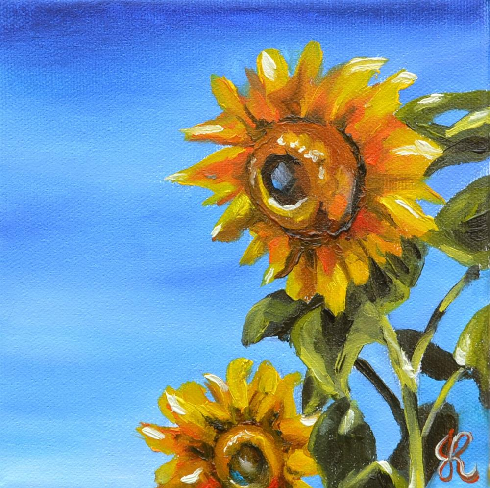 """Sunflowers"" original fine art by Jacinthe Rivard"