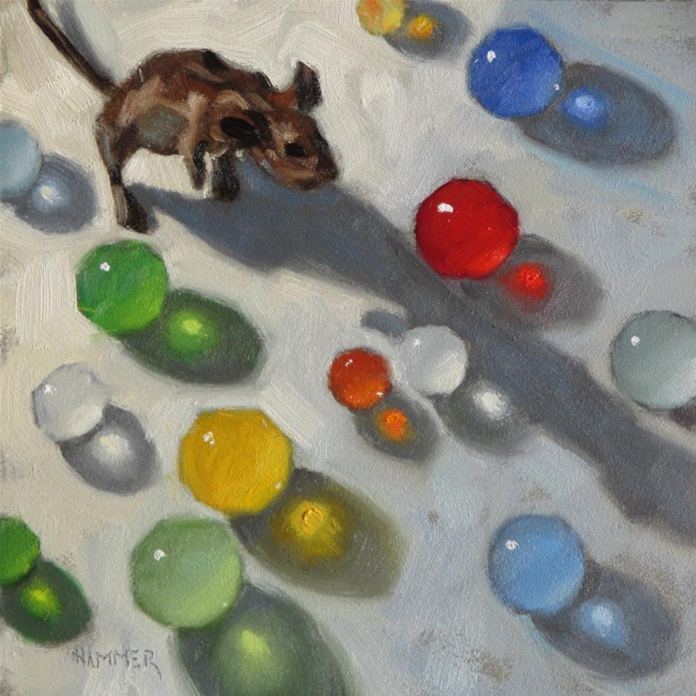 """Sprightly's mine field  6 x 6  oil"" original fine art by Claudia Hammer"