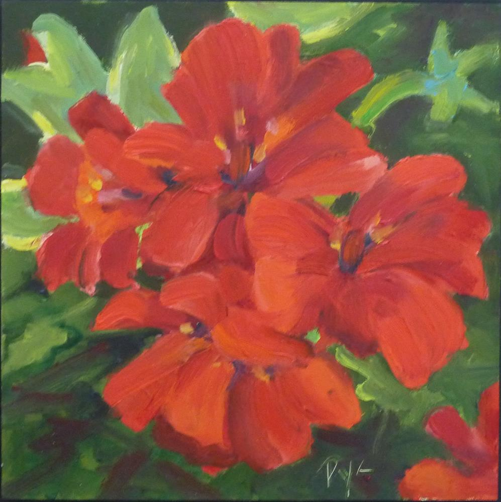 """Red Geranium 6x6"" original fine art by Mary Pyche"