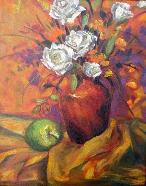 """White Roses on Orange Background"" original fine art by Allison Doke"