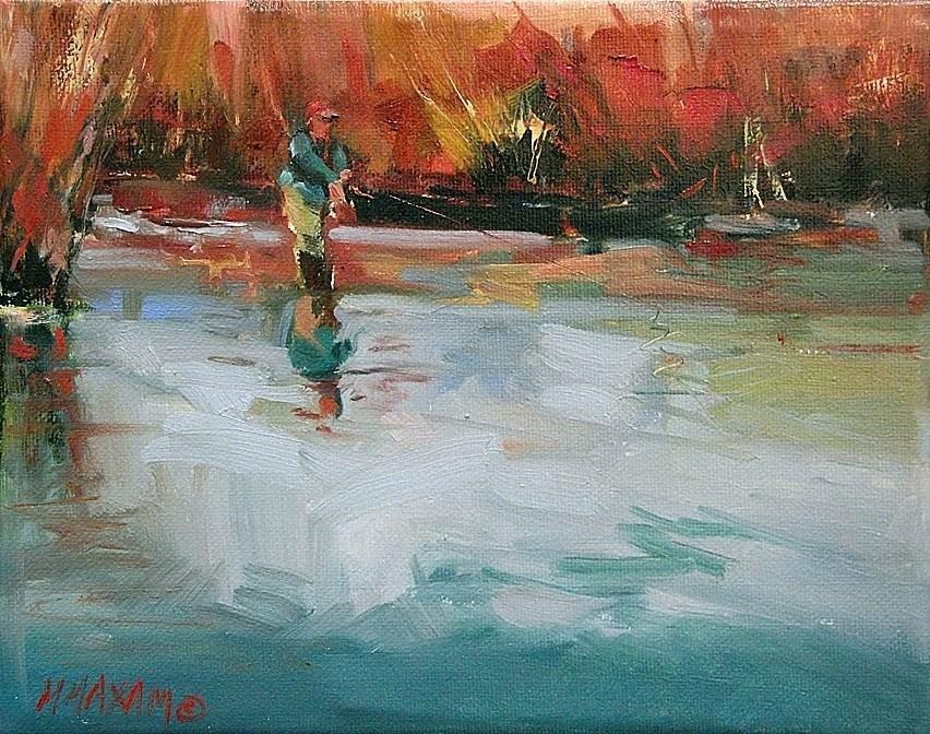 """""""Fishing New Water"""" original fine art by Mary Maxam"""