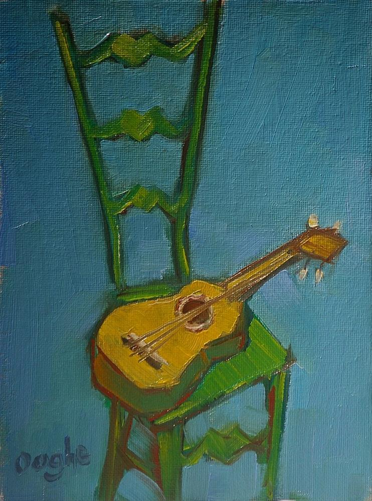 """ukulele and green chair"" original fine art by Angela Ooghe"