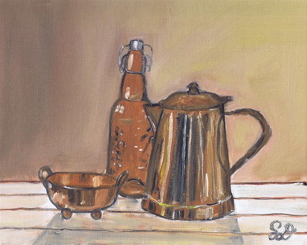 """Copper Bowl with Teapot and Glass Bottles"" original fine art by Samara Doumnande"