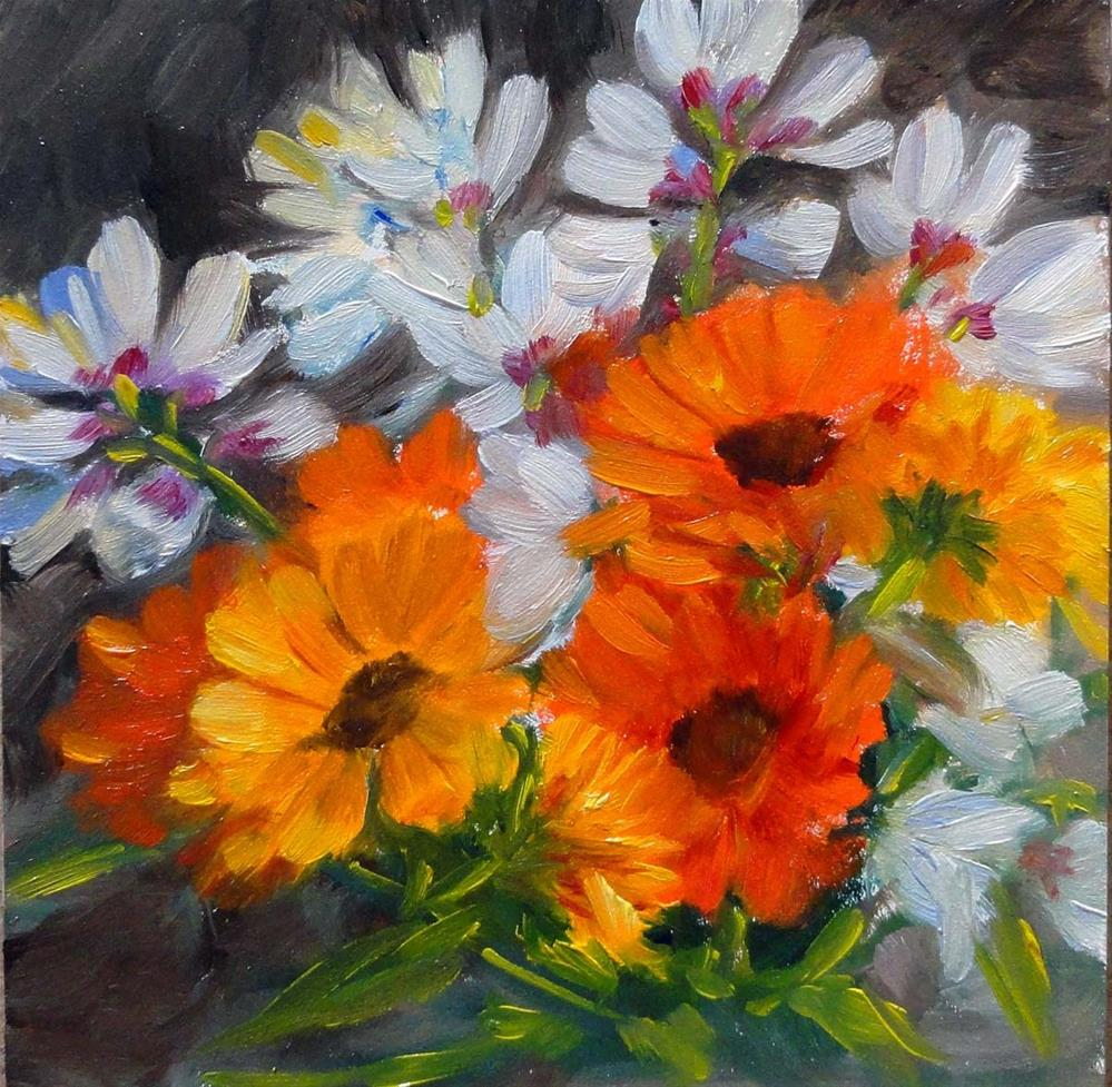 """Marigolds & Freesias"" original fine art by Cietha Wilson"