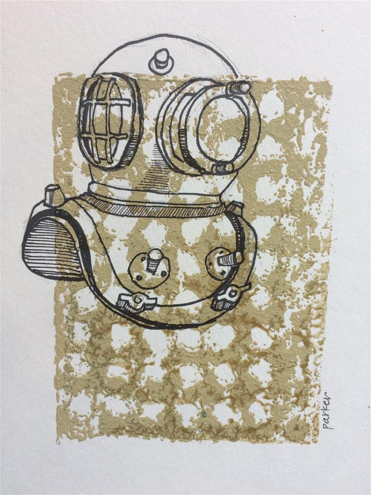 """Diving Helmet Print"" original fine art by Teddi Parker"