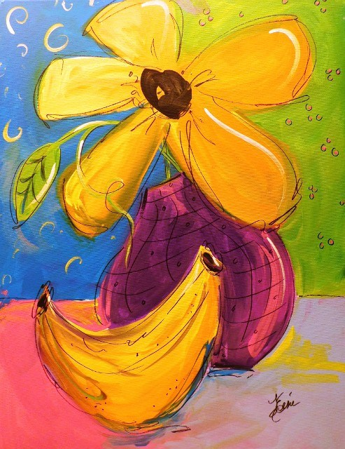 """Banana Blossoms"" original fine art by Terri Einer"