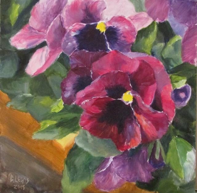 """Smiling Pansies"" original fine art by Christine Lewis"