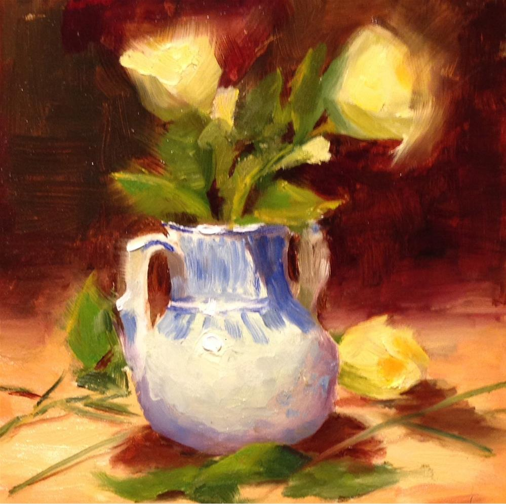 """Blue and White Vase with Yellow Flowers"" original fine art by Dorothy Woolbright"
