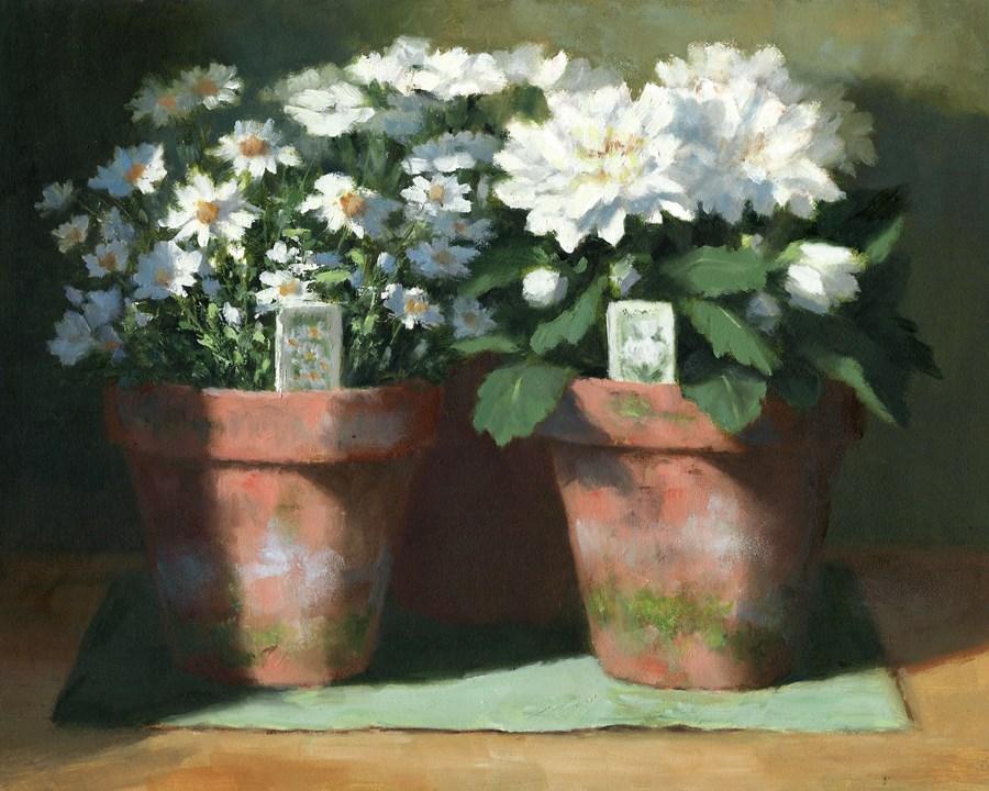 """Mums, Daisies, Dianthus"" original fine art by Linda Jacobus"