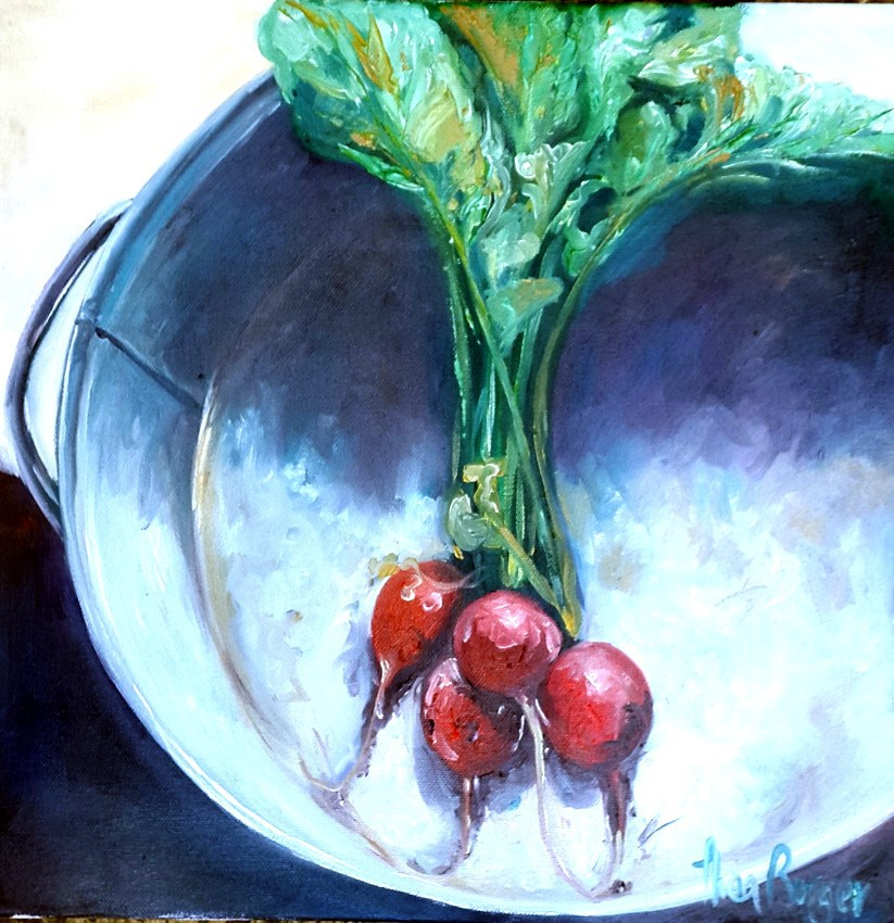 """Raddish in Dish"" original fine art by thea burger"