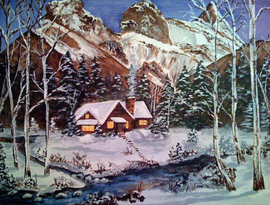 """Mountain Cabin"" original fine art by Nan Johnson"