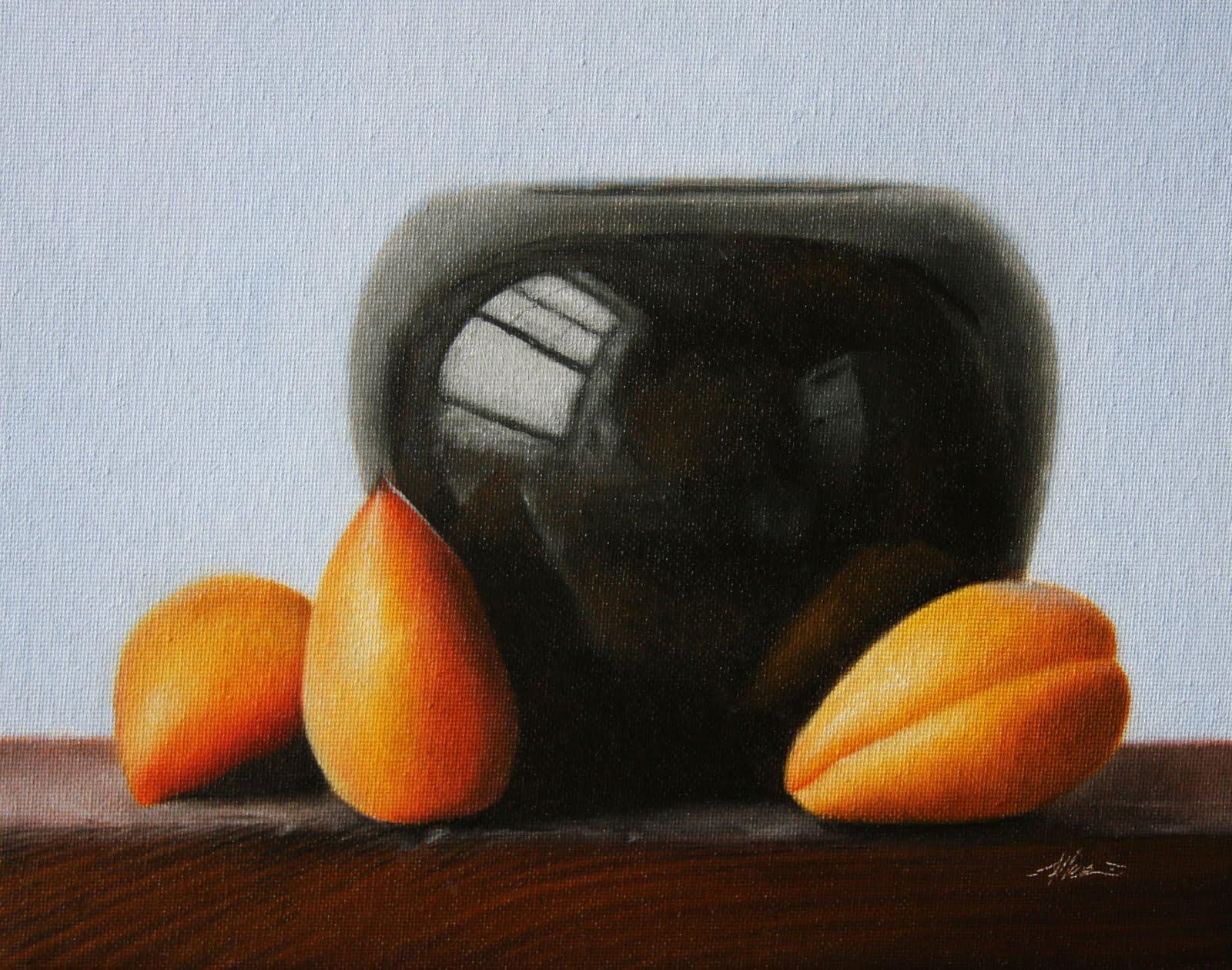 """Apricots & Vase"" original fine art by Jonathan Aller"